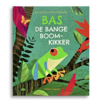 Cover kinderboek Bas de bange boomkikker. EmotieBoeken.