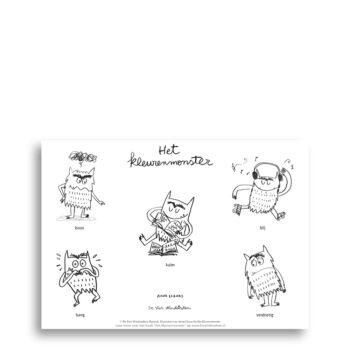 Kleurplaat van kinderboek Het kleurenmonster. Gratis te downloaden op de website van EmotieBoeken