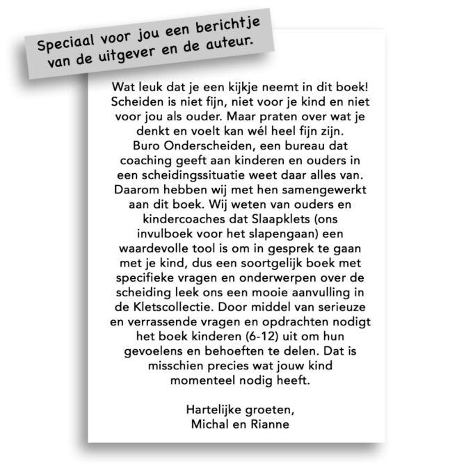 Kinderboek Scheidingsklets voor kleuters - bericht van de auteur Michal en uitgever Gezinnig