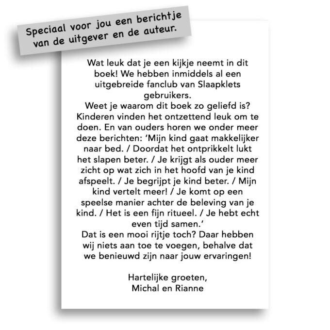 Kinderboek Slaapklets - bericht van de auteur Michal en uitgever Gezinnig